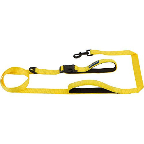 Phydeaux's Dog Leash 6ft, Two Soft Padded Handles, Heavy Duty Nylon with Thick Ergonomic 2 Handles for Control, Safety in Traffic and Training, Perfect for Large or Medium Dogs (6 Feet, Yellow)