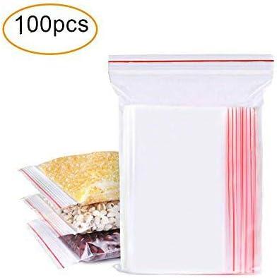 Bolsas con Cierre Hermetico Transparentes Bolsas de Plastico de Cierre Automatico 100 Piezas(10 * 15CM)