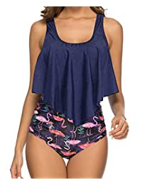88127f7eed Ebuddy Swimwear Women Ruffled Top High Waist Bottom Design Bikini Tankini  Set