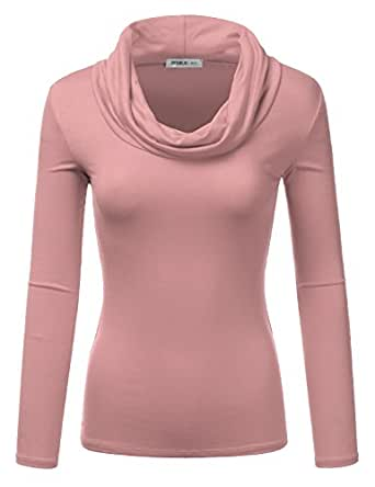 Doublju Lightweight Soft Knit Cowl Neck Top For Women With Plus Size (Made In USA) ASHMAUVE SMALL