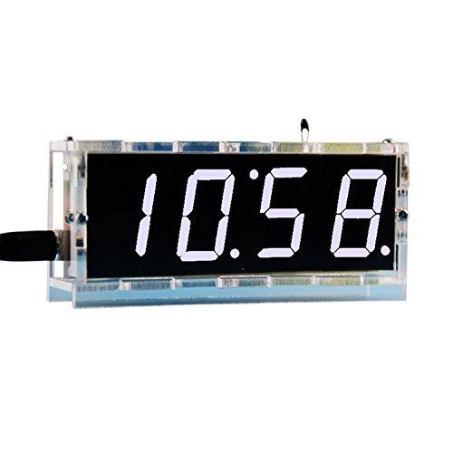 DIY Digital Clock Kit 4 Digit LED Electronic Clock Kit Large Screen with Transparent Case LED White