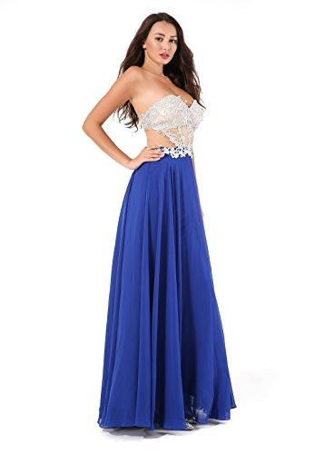 Royal Strapless Rhinestone Chiffon Amelia Prom Long Dresses Women's Embroidery Evening zwqB6Av