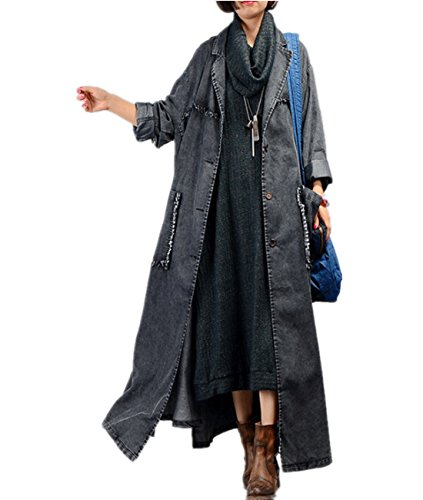 YESNO JQ3 Women Fashion Long Loose Maxi Distressed Denim Trench Jacket Coat Casual Plus Size Lapel Fringed Cut Large Hem (Black, One Size)