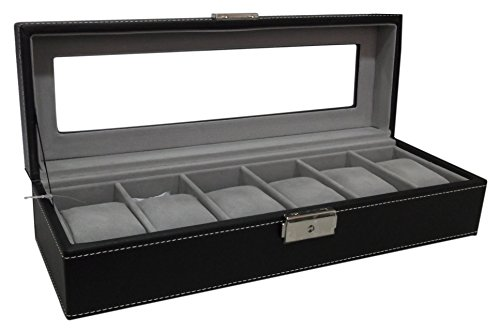 Sorbus Watch Box 6 Mens Black Leather Display Plexi Glass Top Jewelry Case Organizer