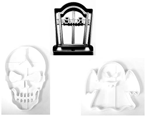 - GRAVEYARD RIP TOMBSTONE GHOST CRACKED SKULL HALLOWEEN SET OF 3 SPECIAL OCCASION COOKIE CUTTERS BAKING TOOL 3D PRINTED MADE IN USA PR1095