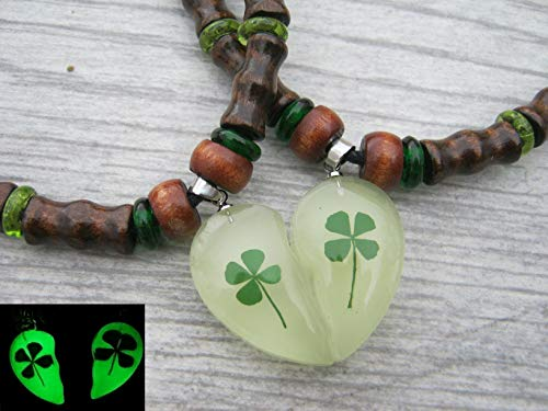 Matching Glow in The Dark Four Leaf Clover Necklaces, Pressed Real Shamrocks, Adjustable Vegan St Paticks Day Heart Jewelry