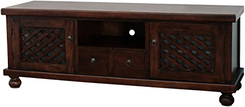 NES Furniture abc10077 Amelia TV Stand Fine Handcrafted Solid Mahogany Wood, 67 inches, Chocolate