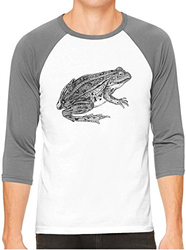 Austin Ink Apparel Grass Frog Amphibian Print White Unisex 3/4 Sleeve Baseball Tee, Heather, M