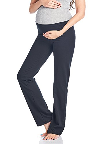 Beachcoco Women's Maternity Fold Over Comfortable Lounge Pants (S, Black)