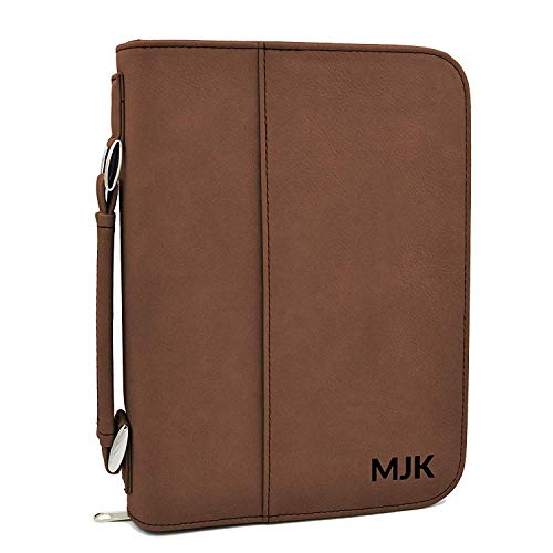 Custom Bible Cover | Engraved Initials |Personalized Bible Cover (Brown) (Leather Bible Cover Custom)