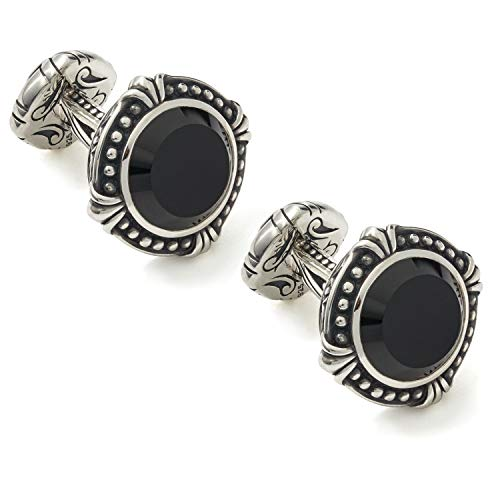 Scott Kay Mens 13mm Round Black Onyx and Sterling Silver Cufflinks