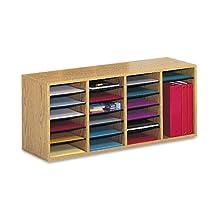 Safco Products Wood Adjustable Literature Organizer, 24 Compartment, Medium Oak, 9423MO