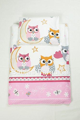 4 tlg Kinderwagen Set - Füllung und Bezug (Cute Owl - Rosa)