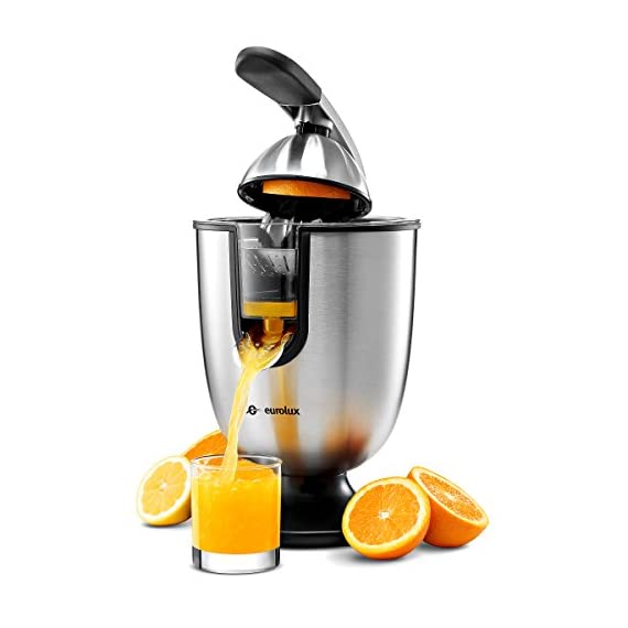 Citrus juicer 1 No extra piece to storage 1-size-fits-all juicing cone provides maximum juice extraction Filter integrated filter captures pits for richer and cleaner juice extraction Easy press rubber handle press with soft grip - stop and reducing pressure on the hand