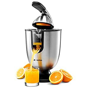Eurolux ELCJ-1700 Electric Citrus Juicer Squeezer, for Orange, Lemon, Grapefruit, Stainless Steel 160 Watts of Power Soft Grip Handle and Cone Lid for Easy Use