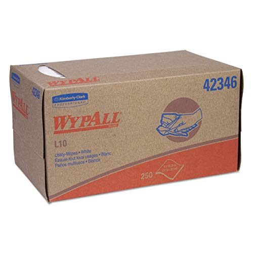 WypAll 42346 L10 Towels, POP-UP Box, 1-Ply, 10 1/4 x 9, White, 250 per Box (Case of 24 Boxes)