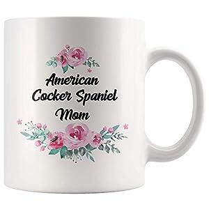 American Cocker Spaniel Mom Mug, Funny American Cocker Spaniel Mom Gift, Gift for American Cocker Spaniel Lovers, Watercolor Flower Floral Mug, White 11oz Ceramic Mug Cup 1