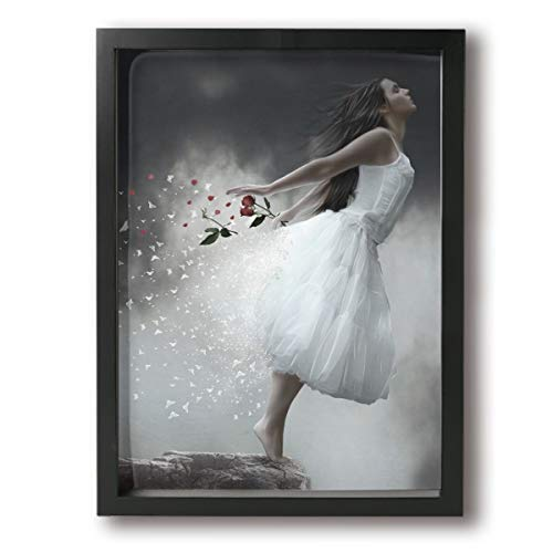 (Achujuyou Canvas Wall Art Decor Cliff White Dress Girl with Red Rose Framed Prints Painting Modern Artwork Pictures Ready to Hang Home Decoration 12x16in)