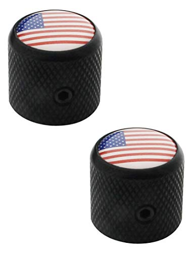 Guyker 2Pcs Guitar Control Knobs with Hex Wrench for 6mm Dia. Shaft Pots - Dome Knurled Knob with National Flag Top Replacement for Precision Electric Guitar or Bass (Black)