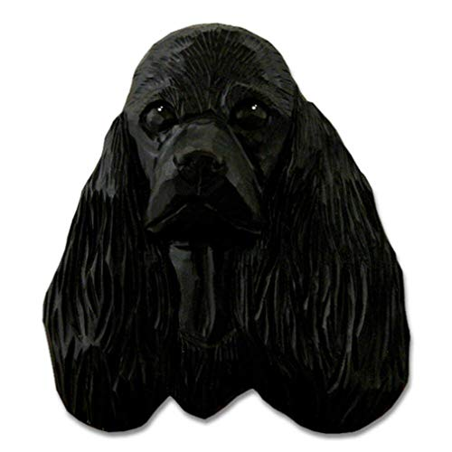 Ky & Co YesKela American Cocker Spaniel Head Plaque Figurine Black