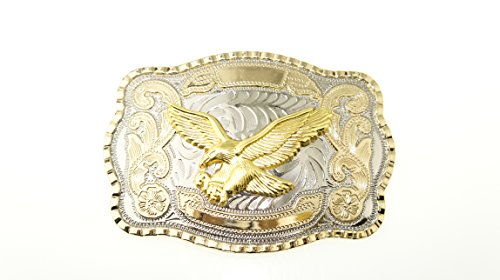 RIDE AWAY Rodeo Soaring Eagle Western Style Gold/Silver Color Multiple Size/Shape Belt Buckles (Soaring Eagle Large) (Buckle Eagle Ride)