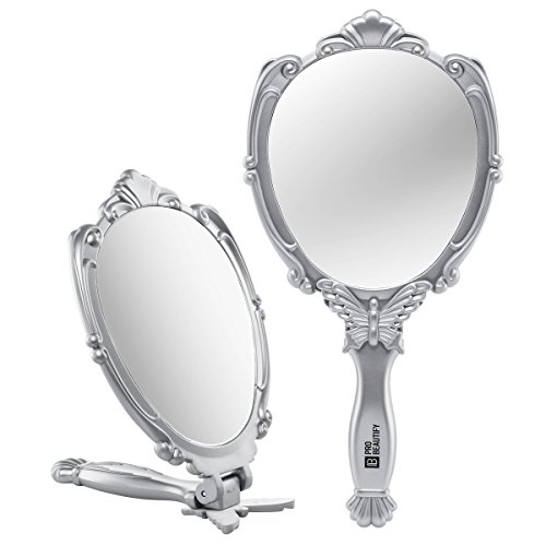 Compact Mirror- Embossed Butterfly Design- Folding Handle- Lightweight & Portable- 180 Degrees Full Folding- Premium Quality- Ideal For Your Makeup Routine- Travel Mirror (Silver) ()