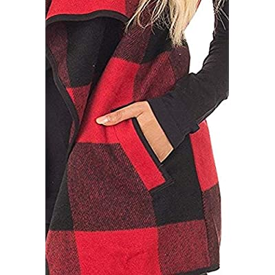 Unidear Womens Casual Lapel Open Front Plaid Vest Cardigan Coat with Pockets at Women's Clothing store