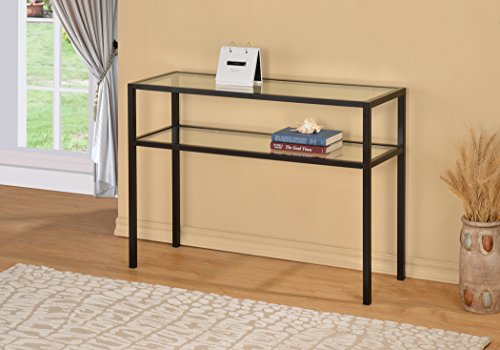 Black Metal Glass Accent Sofa Console Table with Shelf
