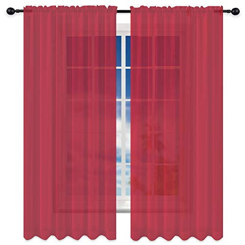KEQIAOSUOCAI 1 Pair Baby Pink Sheer Curtains 45 inches Long for Girls Baby Room with Top Rod Pocket,Small Window Sheer Voile Drapes for Nursery
