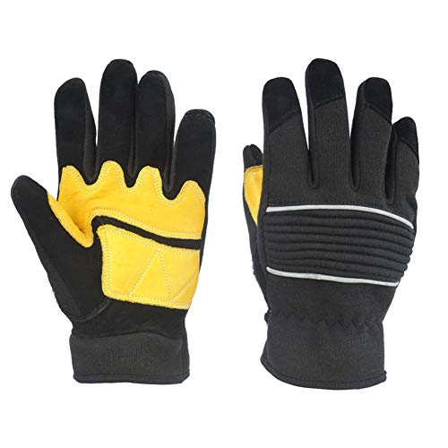 - High Temperature Resistant Gloves Insulated Leather Aramid Anti-Strike Electric Welding Welder Fire Fire Retardant Protective Gloves,L