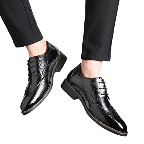 Men Wingtips Square Toe Oxfords Lace-Up Dress Shoes Low Heel Flats Business Classic Shoes by Lowprofile Black