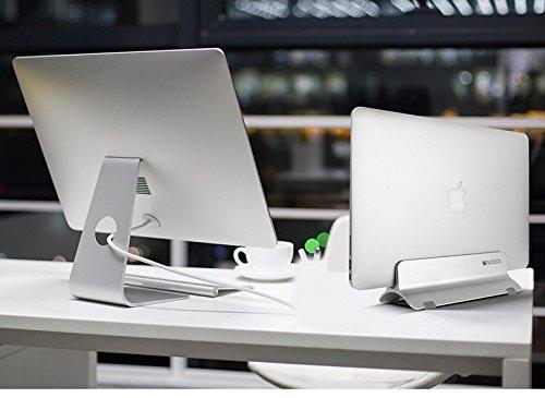 Vertical Laptop Stand, LOCA Aluminium Desktop Stand for Apple MacBook, notebooks (Silver) … Photo #5