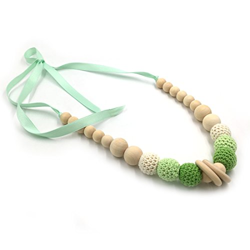 Amyster Ribbon Crochet Beads Wooden Beads Safe Teething Necklace Organic Natural Toy Mom Kids Wood Teether Necklace (Pastel)