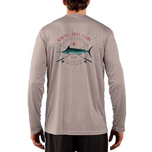 SAND.SALT.SURF.SUN. Sailing Marlin Rods Florida Men's UPF 50+ Long Sleeve T-Shirt XXX-Large Athletic Grey