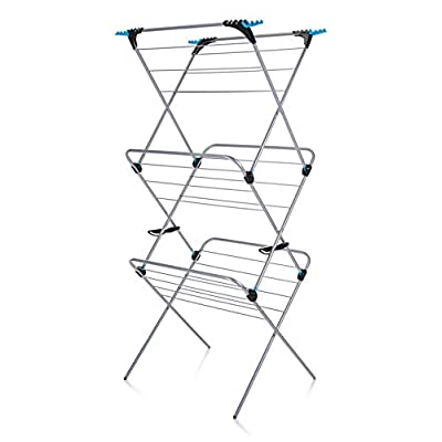 Minky Homecare 3 Tier Plus Drying Rack, 49', Silver - 49ft drying space + 12 flip outs Holds 2 wash loads Double locking mechanism, simple safe operation - laundry-room, entryway-laundry-room, drying-racks - 41fXQlAX HL. SS400  -