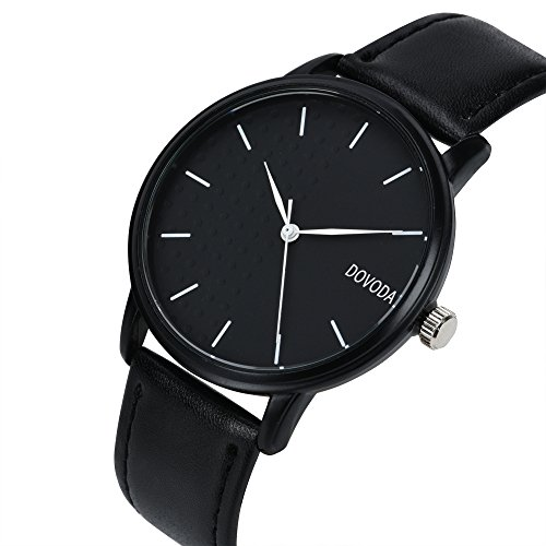 Dovoda watches for men classy stylish quartz analog black leather strap male dress watch reviews for Dovoda watches