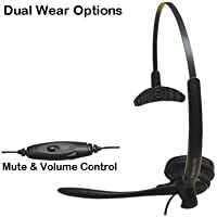 Panasonic Dual Wear Hands-Free Headset with Noise Cancelling Microphone, Comfort Fit Headband, Mute & Volume Control For KX-TGFA30M - KX-TGF380M - KX-TGF382M & KX-TGF383M Link2Cell Cordless Phones