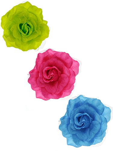 NYFASHION101 Women's Multifunction Rose Flower Sheer Petal Brooch Pin Hair Tie Clip By The Dozen, Multi