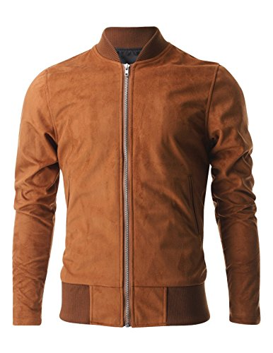 FLATSEVEN Mens Zip up Faux Suede Classic Baseball Bomber Varsity Jacket (VSJ301) Brown, US M/Asia L