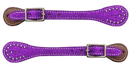 Showman YOUTH Kids Girls PURPLE Glitter Overlay Barrel Racing Studded Leather Spur Straps ()