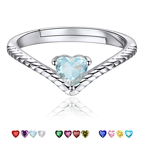 - Mar Birthstone Promise Rings Ocean Blue Crystal Jewelry Love Heart 925 Sterling Silver Eternity Bands Engagement Rings for Her