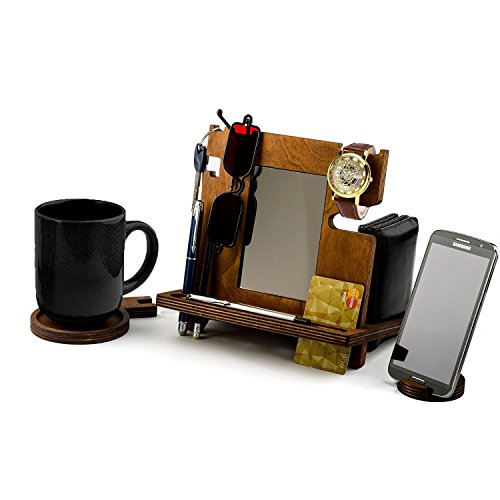 Winmaarc Wooden Docking Station, Desk organizer For Smartphone, Tablet, Watch, Wallet, Shades, Keys Coins, Handmade Men's Christmas - Watches Shade Station
