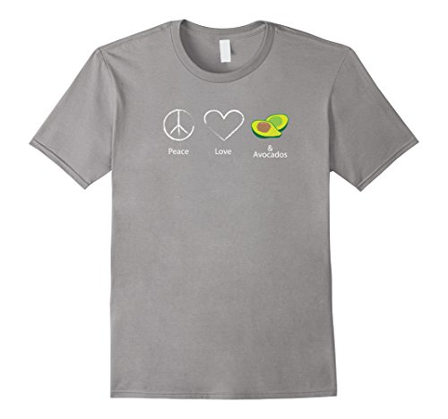 Mens Peace Love And Avocados Funny Food Lovers Shirt 3XL Slate