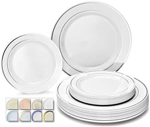 Disposable Plastic Plates Silver White Wedding Occasion Party Dinnerware 50 PCS