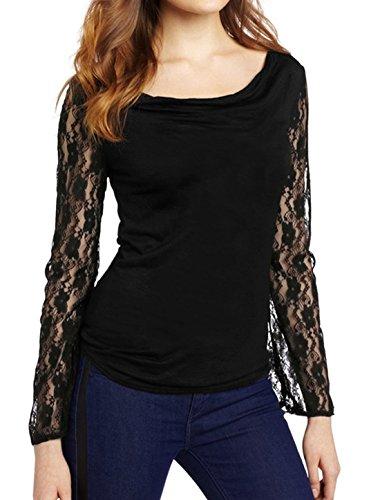 sourcingmap Mujer Cuello Drapeado Encaje De Flores Manga Larga Top Ajuste Fino - algodón, Negro, 80% algodón 100% poliéster 20% poliéster, Mujer, M (UK 10)
