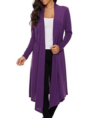 LEANI Women's Long Open Front Drape Lightweight Maxi Long Sleeve Cardigan Sweater Longline Duster Coat Purple