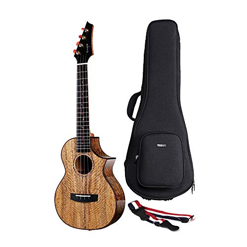 Enya Electric Acoustic 26 inch Tenor Ukulele with Pickup 5A Solid Mango Wood Ukulele with Padded Ukulele Bag EUT-MG6 EQ]()