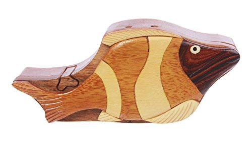 - Handcrafted Wooden Tropical Fish Shape Secret Jewelry Puzzle Box -Tropical Fish