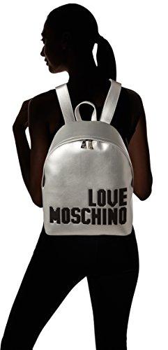 Love Moschino Borsa Soft Nappa Pu Argento - Borse a zainetto Donna, (Silver), 14x36x38 cm (B x H T)