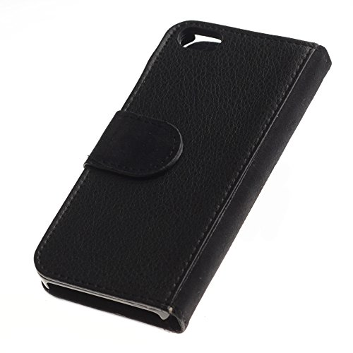 Billetera de Cuero Caso Titular de la tarjeta Carcasa Funda para Apple Iphone 5 / 5S / Oriental Havana Shorthair Black Cat / STRONG